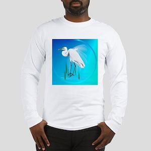American Egret In Grass-circle Long Sleeve T-Shirt