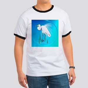 American Egret In Grass-circle Ringer T
