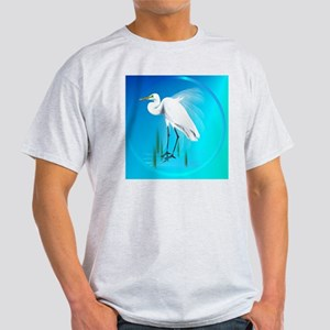 American Egret In Grass-circle Light T-Shirt
