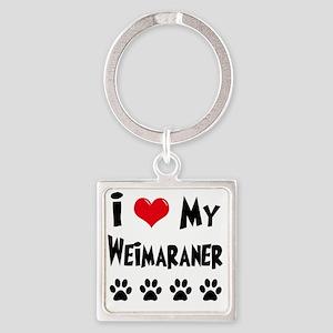 I-Love-My-Weimaraner Square Keychain