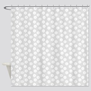 Pastel Gray Floral Pattern. Shower Curtain