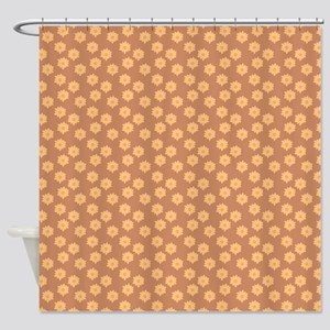 Floral Patern in Orange and Brown. Shower Curtain