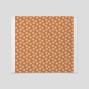 Floral Patern in Orange and Brown. Throw Blanket