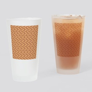 Floral Patern in Orange and Brown. Drinking Glass