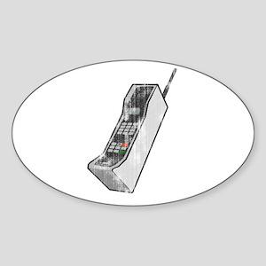 Worn 80's Cellphone Oval Sticker
