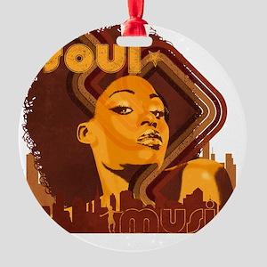 Soul Music - Orange Round Ornament