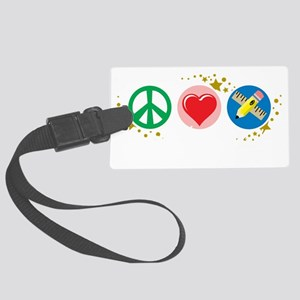 Peace-Love-Teach-blk Large Luggage Tag