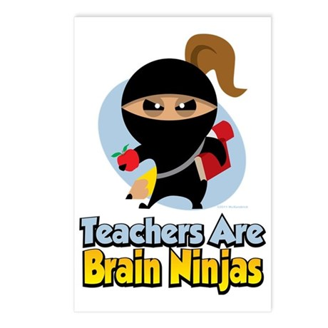 Teachers-Are-Brain-Ninjas Postcards (Package of 8)