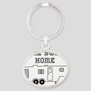 HomeSweetHomeFifthWheel Oval Keychain
