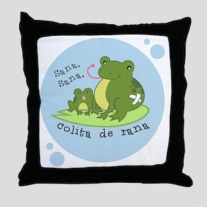 frog_bluebubble_forwhitebg Throw Pillow