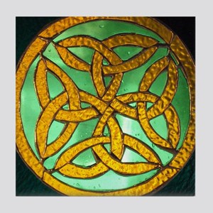 Irish knot and hand rosary 009 Tile Coaster