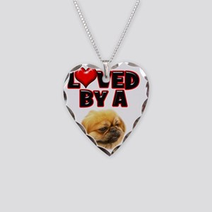 Loved by a Pekingnese Necklace Heart Charm