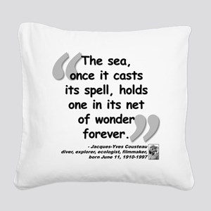 Cousteau Sea Quote Square Canvas Pillow