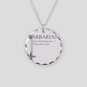 Barbarian Black Necklace Circle Charm