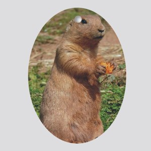 prairie dog larger Oval Ornament