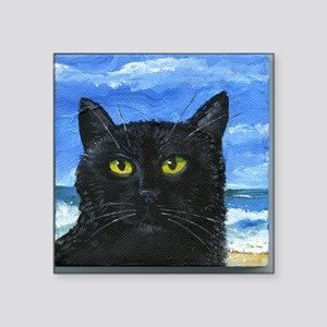 "Black Cat Square Sticker 3"" x 3"""