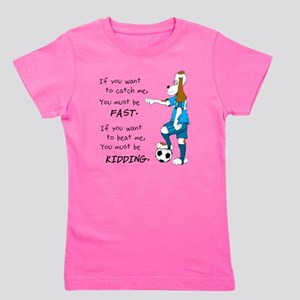 Soccer Dog Kidding Larry black Girl's Tee