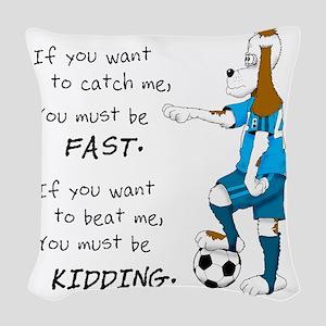 Soccer Dog Kidding Larry black Woven Throw Pillow
