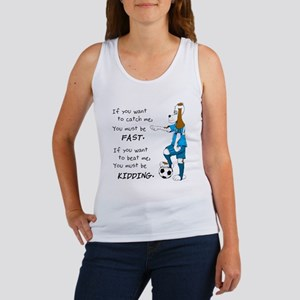 Soccer Dog Kidding Larry black Women's Tank Top