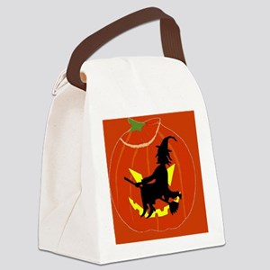 WITCH ON PUMPKIN 2 Canvas Lunch Bag