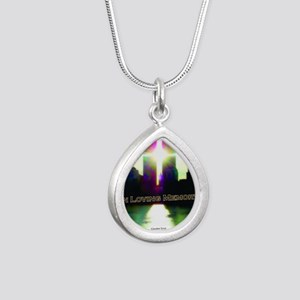 TWIN TOWERS POSTER FOR A Silver Teardrop Necklace