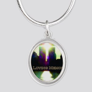 TWIN TOWERS POSTER FOR ALEX 7 Silver Oval Necklace