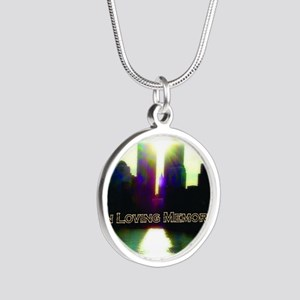 TWIN TOWERS POSTER FOR ALEX  Silver Round Necklace