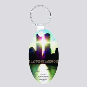 TWIN TOWERS POSTER FOR ALEX Aluminum Oval Keychain