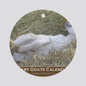 2012 I Love Baby Goats Calendar Round Ornament