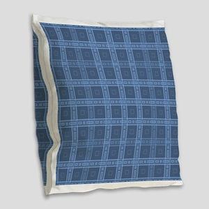 Dark Blue Plaid Style Check Pattern. Burlap Throw
