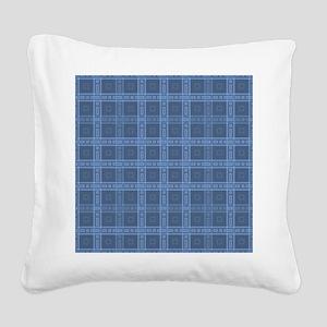 Dark Blue Plaid Style Check Pattern. Square Canvas