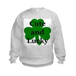 Cute and Lucky Shamrock Kids Sweatshirt