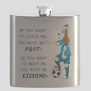 SoccerDogKIdding LarryCaps Flask