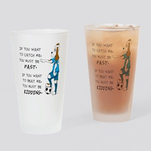 SoccerDogKIdding LarryCaps Drinking Glass