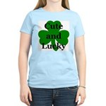 Cute and Lucky Shamrock Women's Pink T-Shirt