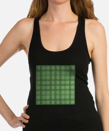 Green Plaid Style Check Pattern. Racerback Tank To