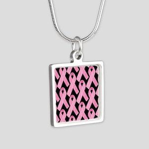 PinkRibbonWHero460ipP Silver Square Necklace