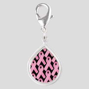PinkRibbonWHero460ipP Silver Teardrop Charm
