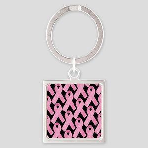 PinkRibbonWHero460ipP Square Keychain