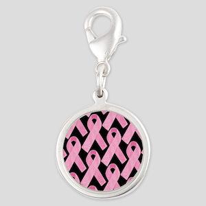 PinkRibbonWHero460ipP Silver Round Charm
