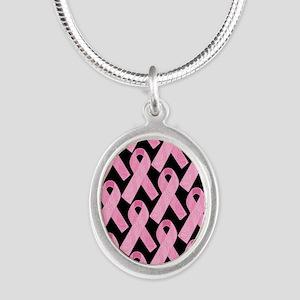 PinkRibbonWHero460ipP Silver Oval Necklace