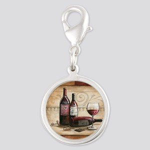wine and chocolate 2 Silver Round Charm