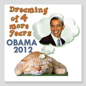 """obama-cat Square Car Magnet 3"""" x 3"""""""