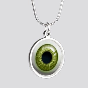 16x16_theeye_green Silver Round Necklace