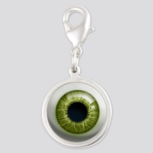 16x16_theeye_green Silver Round Charm