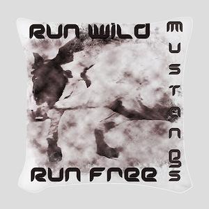 Run Wild, Mustangs, Run Free 4 Woven Throw Pillow