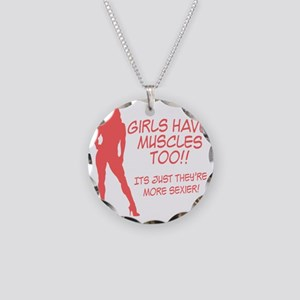 girls-have-muscles-too Necklace Circle Charm