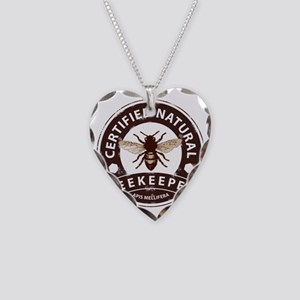 Certified Natural Beekeeper Necklace Heart Charm