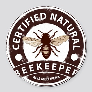 Certified Natural Beekeeper Round Car Magnet