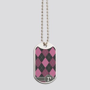 441_argyle_monogram_rose_r Dog Tags